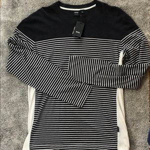 Hugo Boss striped grey long sleeve t-shirt